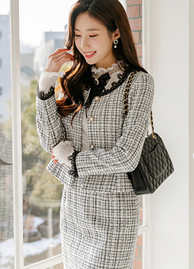 Lace Trim Belted Check Tweed Jacket, Styleonme