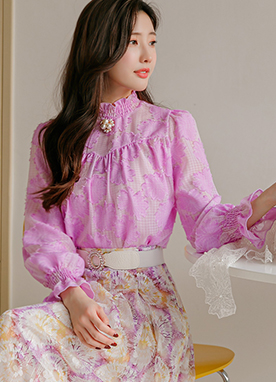 Cloud Floral Print Sheer Blouse, Styleonme
