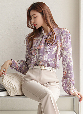 Fairytale Floral Print Chiffon Blouse, Styleonme