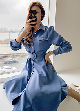 Silver Button Belted Shirt Dress, Styleonme