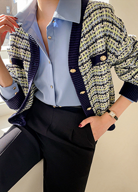 Gold Button V-neck Tweed Cardigan, Styleonme