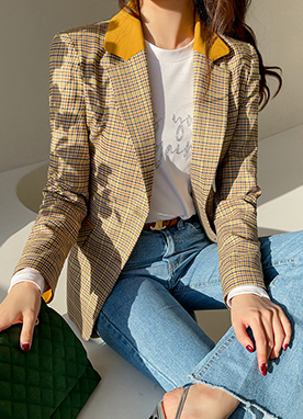 Spring Yellow Check Tailored Blazer, Styleonme