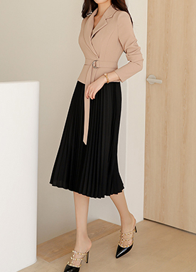 Jacket Style Pleats Dress, Styleonme
