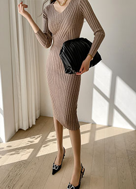 V-neck Slim Ribbed Knit Dress, Styleonme