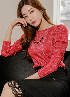 4 Season Sparkle Long Puff Sleeves Top, Styleonme