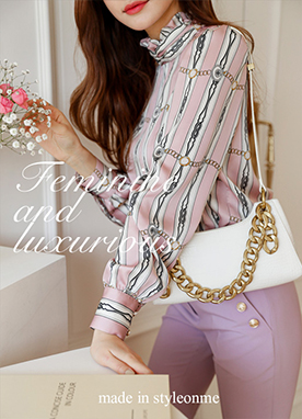 Chain Printed Blouse with Shimmer Scarf, Styleonme