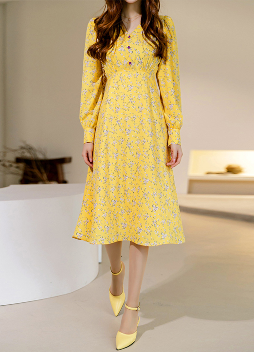 Floral Print Maxi Yellow Dress, Styleonme