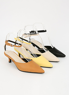Pointed Strap Mid Heels, Styleonme
