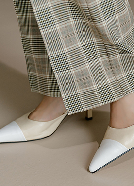 Color Block Heeled Mules, Styleonme
