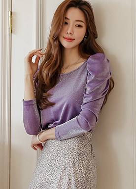Puff Sleeve Shirring Glittery Top, Styleonme