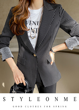 Basic Pin Stripe Blazer, Styleonme