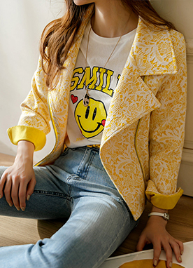 Jacquard Lace Yellow Biker Jacket, Styleonme