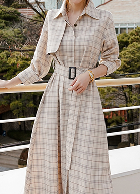 Light Touch Trench Coat Design Check Dress, Styleonme