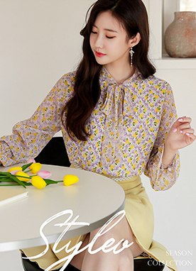 Ribbon Tie Rose Print Blouse, Styleonme