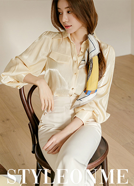 Pocket Design Satin Shirt, Styleonme