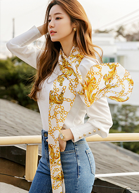 Classic Chain Scarf Puff Sleeves Top, Styleonme