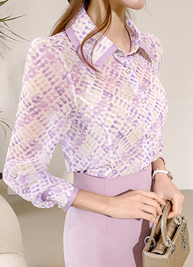 Artistic Paint Pattern Sheer Shirt, Styleonme