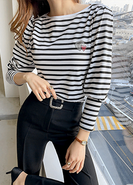 Puff Sleeve Boat Neck Stripe Top, Styleonme