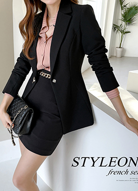 Standard Line Pearl Button Tailored Blazer, Styleonme