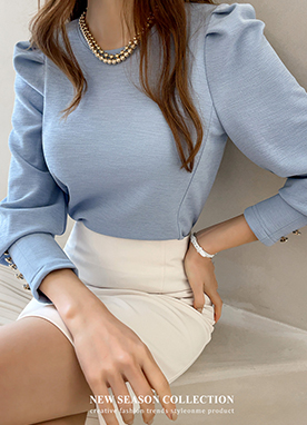 Gold Button Cuff Romantic Knit Top, Styleonme