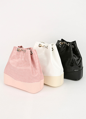 Two Tone Simple Bucket Bag, Styleonme