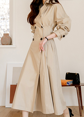 2 Way Natural French Slim fit Waist Trench Coat Dress, Styleonme