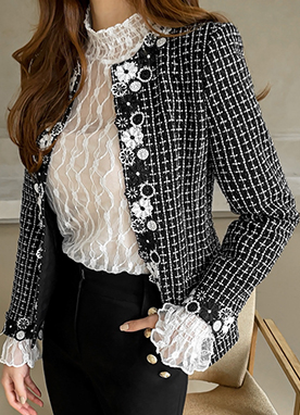 Floral Trim Pearl Tweed Collarless Jacket, Styleonme
