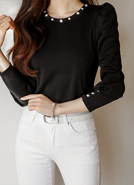 Basic Pearl Detail Puff Sleeve Top, Styleonme