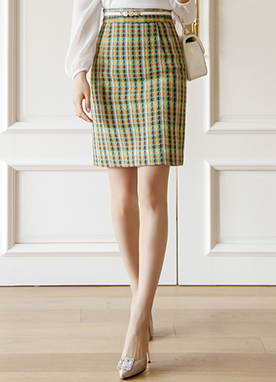 Apple Mint Hound Check Tweed Pencil Skirt, Styleonme