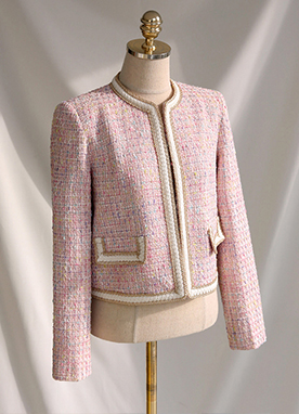 Gold Trim Pocket Tweed Jacket, Styleonme