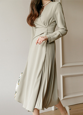 Elegant Wrap Pleats Dress, Styleonme