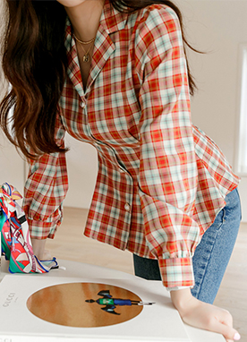 Red Check Perfect fit Pintuck Shirt, Styleonme