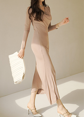Simple Scoop Neck Maxi Dress, Styleonme