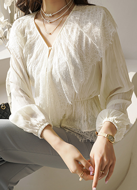 V-neck Lace Layered Button Up Blouse, Styleonme