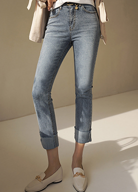 Mid Rise Straight fit Roll-up Jeans, Styleonme