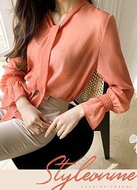 Sheer Ribbon Tie Blouse, Styleonme