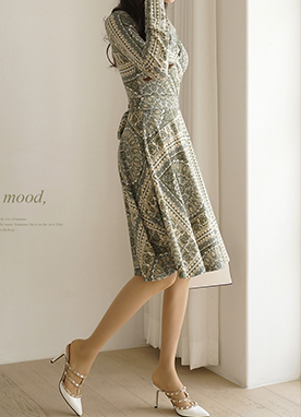 Medallion Print Wrap Dress, Styleonme