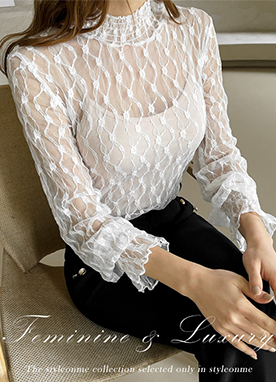 Smock Neck Sheer Lace Blouse, Styleonme