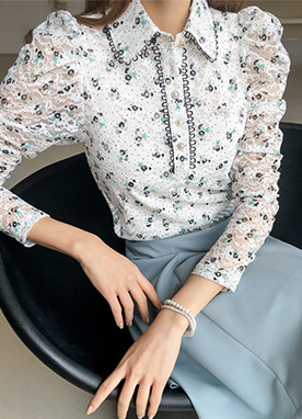Pearl Button Lace Trim Floral Print Shirt, Styleonme