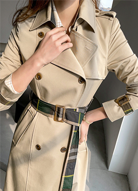 Chic and Stylish Check Belt Trench Coat, Styleonme