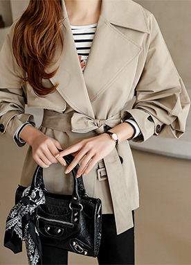 Belted Half Trench Coat, Styleonme