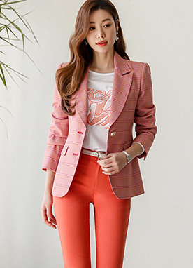 Red Glen Check Gold Button Blazer, Styleonme