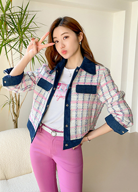 Denim and Tweed Mix Jacket, Styleonme