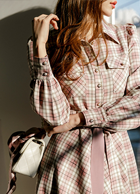Pink Check Button Up Dress, Styleonme