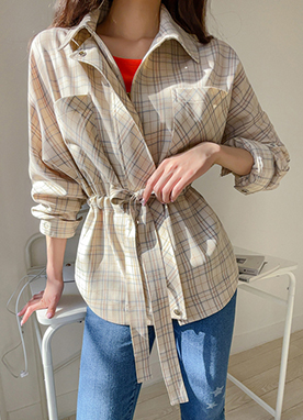 Soft Beige Tone Belted Check Parka Jacket, Styleonme