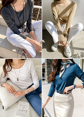 (1+1) BASIC Long Sleeves Soft Top, Styleonme