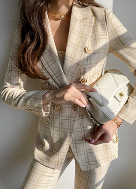 Pastel Check Tailored Blazer, Styleonme