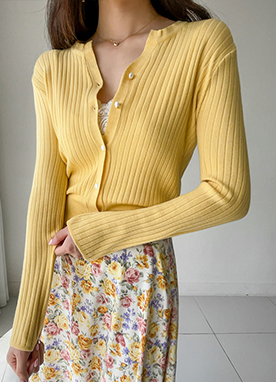 Spring Basic Short Ribbed Cardigan, Styleonme