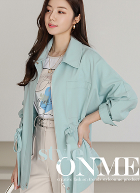 Shirt Style Belted Waist Parka, Styleonme