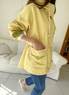 Daily Casual Elasticated Waist Parka, Styleonme